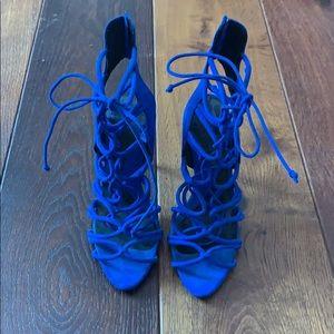 Zara Blue Lace Up Heels